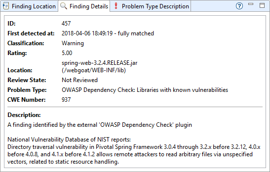 Xanitizer Screenshot of the finding details of an automatically detected library with known vulnerabilities.